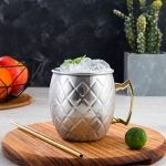 2 PCS Copper Plating Stainless Steel Mug Cocktail Glass Beer Mug Stainless Steel, Style:Netting
