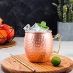 2 PCS Copper Plating Stainless Steel Mug Cocktail Glass Beer Mug Rose Gold, Style:Hammer point