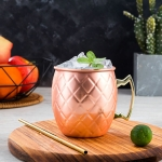 2 PCS Copper Plating Stainless Steel Mug Cocktail Glass Beer Mug Rose Gold, Style:Netting