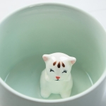2 PCS Creative Ceramic Cup 3D Animal Coffee Cup Creative Gift(Little Flower Cat)