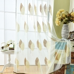 Embroidered Tulle Window Curtains for Living Room Bedroom  Kitchen Window Drapes(Coffe)
