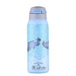 Portable Stainless Steel Sports Mug vVcuum Water Bottle with Straw Blue, Capacity:450ml