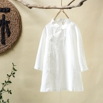 2 PCS Art Retro Stand Collar Plate Buckle Diagonal Embroidery Seven Point Sleeve Women Shirt, Size:One Size(White)