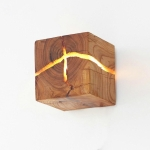 Creative Wooden Bedside Aisle Decorated Small Night Light Cracked Wooden Wall Lamp, Random Crack Delivery(Apricot Wood)