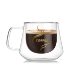 Double Wall Mug Office Mugs Heat Insulation Double Coffee Mug Coffee Glass Cup, Style:Labeled