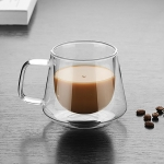 Double Wall Mug Office Mugs Heat Insulation Double Coffee Mug Coffee Glass Cup, Style:No label