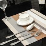 2 PCS Kitchen Dinning Table Placemat Napkins Heat Resistant PVC Stripe Mat Placemats Manteles Doilies Coaster Cup Pad(Beige)