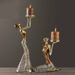 Classical Lady Sculpture Polyresin Vintage Candle Holder Dinning Table Art and Craft Ornament, Without Candles(Champagne)