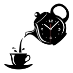 2 PCS Creative DIY Acrylic Coffee Cup Teapot 3D Wall Clock Decorative Kitchen Wall Clocks Living Room Dining Room Home Decor Clock(Black)