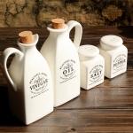 4 PCS Ceramic White Spice Jar with Wooden Cork Kitchen Condiment Bottle Seasoning Pot Pepper Vinegar Oil Salt Bottle Cooking Spice Tool