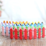 10 PCS Handmade Doll House Miniature Colorful Wooden Fence,  Color Random Delivery