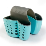 Kitchen Plastic Storage Baskets Drain Sponge Drainage Rack Hanging Bag(Blue)