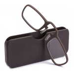 2 PCS TR90 Pince-nez Reading Glasses Presbyopic Glasses with Portable Box, Degree:+1.00D(Brown)