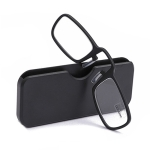 2 PCS TR90 Pince-nez Reading Glasses Presbyopic Glasses with Portable Box, Degree:+1.50D(Black)