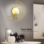 Golden Moon Personality Creative Bedroom Bedside Porch Aisle Wrought Iron Lighting LED Wall Lamp
