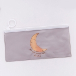 Creative Ring Flat Pull Bag Translucent Pencil Case Office Stationery School Supplies(Grey Moon)