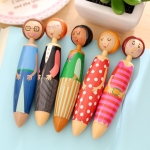 Creative Cute Cartoon Little Girl Chunky Ballpoint Pen Gift Stationery School Office Supply Random Color Delivery, Ink Color:Blue