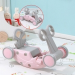 Children Rocking Horse Yo Car Combination Plastic Rocking Cradles Baby Home Scooter Walker(Cherry Pink)