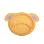 3 PCS Cartoon Cute Pig Baby Feeding Dishes Infant Silicone Plate Bowls Tableware(Yellow)