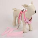 Pet Cat Dog Harness Floral Dog Vest Walking Leads Leash, Size:M(Pink)