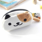 Cute Soft Short Plush Cat Makeup Bag Pen Bag Large Capacity Student Learning Pencil Case(Yellow and White)