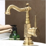 Deck Mounted Basin faucet Vintage Antique Brass Bathroom Sink Faucet(Green bronze basin faucet)