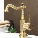 Deck Mounted Basin faucet Vintage Antique Brass Bathroom Sink Faucet(Green bronze basin faucet)