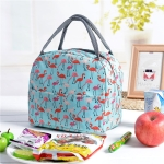 Portable Outdoor Travel Handbag Waterproof Lunch Food Thermal Bag, Size:23.5x16x19cm(Tiffany Blue Flamingo)