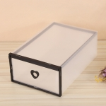Transparent Home Flip Cover Drawer Plastic Thickening Storage Box(Black)