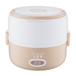 Electric Food Steamer Heat Preservation Lunch Box Food Warmer Mini Steamer Double khaki