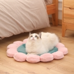Round Flower Pet Cat Dog Plush Mat Pet Bed, Specification: 110cm(Green)
