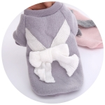 Autumn and Winter Knit Bow Sweater Bottoming Shirt Two Feet Pet Clothes, Size: L(Grey)