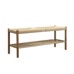 Nordic Simple White Oak Solid Wood Rope Change Shoe Bench Porch Stool, Size: 110x35x45cm