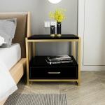 Simple Bedroom Mini Storage Locker Bedside Table, Color:A Black Piano Lacquer