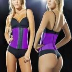 Lady Elastic Latex Steel Bone Buckle Toning Body Lifting Hips Slimming Waist Belt, Size: XXL(Purple)