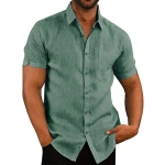 Solid Color Cotton Short-sleeved Lapel Casual Repair Body Shirt for Men, Size: L(Green)