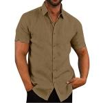 Solid Color Cotton Short-sleeved Lapel Casual Repair Body Shirt for Men, Size: XL( Khaki)