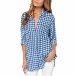 Simple Sexy Lapel Checkered Shirt, Size: XL(Blue )