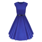 Solid Color Waistless Sleeveless Dress, Size: M(Blue)