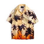 Summer Vacation Leisure Beach Sunset Glow Coconut Grove Printing Short Sleeve Couple Shirt, Size: M(As Show)