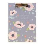 Floral Series Folder Board Writing Pad 16K Test Paper Data Organization Office Supplies(Purple)