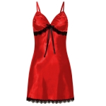 3 PCS Sling Lace Sexy Perspective Lingerie Nightdress, Size:S(Red)