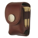 Portable Golf Ball Holder Waist Pouch Bag Leather Cool Golf Tee Bag Sports Accessory(Brown)
