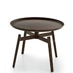 Modern European Style Round Tea Tray Table Iron Stoving Varnish Living Room Bedroom Corner Sofa Side Simple Round Coffee Table(Black S)