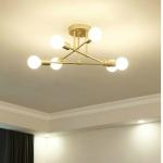 5W 6-Heads Modern LED Ceiling Chandelier Lighting Living Room Bedroom Creative Home Lighting, Emitting Color:White Light(Full Gold)