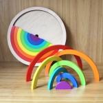 Creative Rainbow Assembled Building Blocks Children Educational Toys