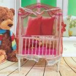 5 PCS Doll House Plastic Baby Cot Miniature Furniture Bedroom Decoration