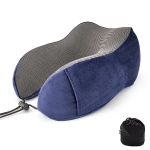 Magnetic Memory Foam U-shaped Pillow Suitable for Travel Solid Pillows(Navy blue)