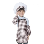 Children Baking Apron Chef Clothes Cap Set, Size:One Size(Coffee)