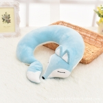 Lovely Fox Animal Cotton Plush U Shape Neck Pillow for Travel Car  Plane Travel, Size:30x30x8cm(light blue)